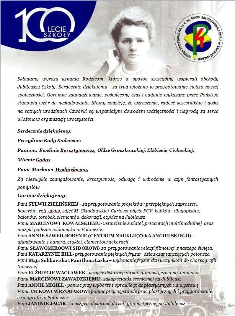 Jubileusz Szkoły Szkoła Podstawowa Nr 4 W Skierniewicach